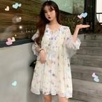 ワンピース 花柄 半袖 ミディアム丈 フェミニン ガーリー 韓国ファッション オルチャンファッション
