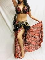 エジプト製 ベリーダンス衣装 コスチューム オレンジ 豹柄