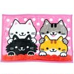 【WAKUWAKU ANIMAL】マイヤーブランケット(クロのともだち)ひざ掛け【三毛猫 猫雑貨 cat】