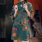 改良型チャイナドレス パーティー 鯉 吉 二次会 気質良い レトロ プリント 民族風 Aライン S M L