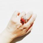 飛騨春慶のリング 紅/銀箔×クリスタルビーズ[R019]
