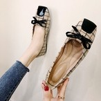 【shoes】スクエアトゥリボン付きレトロ合わせやすいファッションシューズ