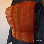 正絹 臙脂に蜘蛛絞りと縞の洒落袋