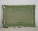 布目模様の角皿(緑釉)【陶芸 JIN】
