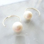 送料無料 14kgf*Big round pearl hook pierced earring パール