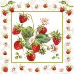 入荷しました|2020春夏【Ambiente】バラ売り2枚 ランチサイズ ペーパーナプキン FRESH STRAWBERRIES ホワイト