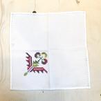 【アンティーク・ブロカント】クロスステッチのテーブルナフキン(赤い花)