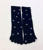 ハートの藍染五本指靴下