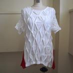 【sandglass】smocking t-shirt(White) / 【サンドグラス】スモッキング Tシャツ(ホワイト)