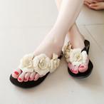 【shoes】立体フラワーツバキスタイリッシュ素敵見えスリッパ