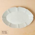 30[前田 麻美 個展]灰青釉オーバル皿/L