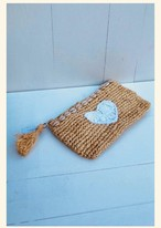 ◆Mon ange Louise◆予約受付中!Clutch HEART(white)天然素材を使用した手編みのクラッチバッグ