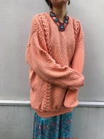 Vintage big salmon pink  handmade knit tops ( ヴィンテージ ハンドメイド サーモンピンク ニット トップス )