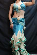 エジプト製ベリーダンス衣装 エメラルドグリーン