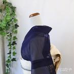 正絹紗 濃紺に花の飛び柄小紋
