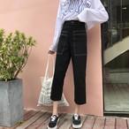 【新作10%off】high waist wide leg stich pants 3306