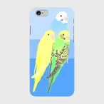 iPhoneケース セキセイインコ グリーン/パイドブルー/ルチノー 3羽【各機種対応】