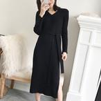 【dress】着回し最強ファッション無地Vネック長袖ニットワンピース 23807973