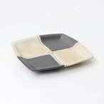 【SL-0081】磁器 13.3cm 角銘々皿 墨 市松
