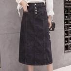 【ボトムス】デニムファッションサイドスリット無地スカート