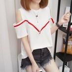 【tops】Tシャツ女子力アップ肩出しセクシー韓国系オシャレ