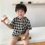 送料無料♡韓国輸入服 スタンドカラー チェックシャツ サイズ80~130
