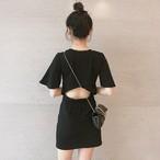 【dress】チャーミング後ろ透かし彫りラウンドネック半袖カジュアルワンピース