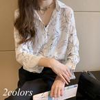 シャツ ブラウス 長袖 プリント 花柄 フラワー エレガント レディース トップス 大きいサイズ 白 黒 ホワイト ブラック