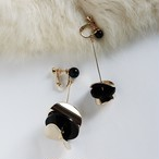 EARRINGS || 【通常商品】 ASYMMETRY DISK EARRINGS || 1 EARRINGS || GOLD×BLACK || EBH133