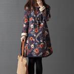 【dress】綿麻プリントゆったり大きいサイズカジュアルワンピース