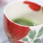 京焼 抹茶茶碗 牡丹 桃色