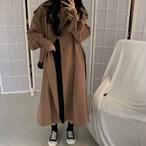 ロングコート 袖ベルト カーキ 韓国ファッション レディース アウター ロング丈コート 長袖 レトロ シンプル DTC-603630388177