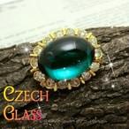 エメラルドグリーン カボッションガラス ヴィンテージ クラスター ブローチ 小さめ ハットピンにも♪