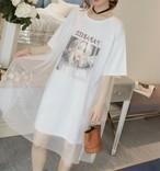 ワンピース Tシャツ ドッキング 半袖 ミニ丈 ビッグシルエット メッシュ チュール プリント スポーティ