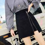 【bottoms】無地カジュアルハイウエストAラインスカート14423733