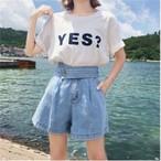 【新作10%off】big belt short denim pants 2838