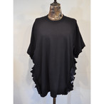 【 RehersalL 】side frill Tshirt(black6) /【リハーズオール】サイドフリルTシャツ(ブラック6)