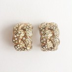 gold & rhinestone hoop earring[e-968]