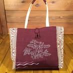 帯と刺繍のトートバッグ『ケマンソウ』
