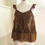 【RehersalL】lace flare camisole(brown) /【リハーズオール】レースフレアキャミソール(ブラウン)