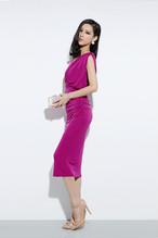 ドレス ミモレ丈 シンプル ピンク パーティースタイル♢♦︎結婚式やお呼ばれに