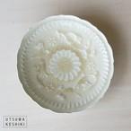 [マルヤマウエア] 7寸陽刻皿(灰釉)