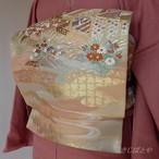 正絹 長春色に平安絵巻柄の袋帯
