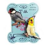 刺繍ミニブローチ文鳥とオカメインコ