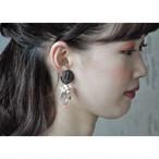 tiravisù【 clear pink beads _ dark silver _ pierce 】vintage / handmade / ピアス / japan