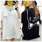 大きいサイズ ねこ ネコ 猫プリントシンプル カットソー Tシャツ ワンピース LL~4L