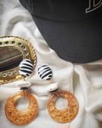 zebra × white × clear orange big ring 《再販なし》