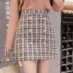 【bottoms】ボタン飾りチェック柄新作トレンドスカート 23713304
