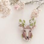 【受注生産】《プチサイズ》鹿green 刺繍ブローチ