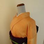 正絹紬 オレンジのぼかし 紋入り 袷の着物